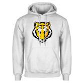 White Fleece Hoodie-Tiger Head