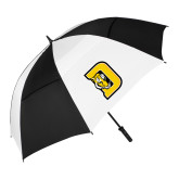 62 Inch Black/White Umbrella-D w/ Tiger Head