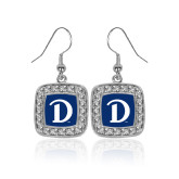 Crystal Studded Square Pendant Silver Dangle Earrings-Drake D Logo