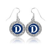 Crystal Studded Round Pendant Silver Dangle Earrings-Drake D Logo