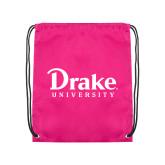 Pink Drawstring Backpack-Drake University