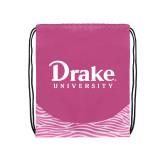 Nylon Zebra Pink/White Patterned Drawstring Backpack-Drake University