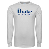 White Long Sleeve T Shirt-Drake University