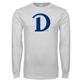 White Long Sleeve T Shirt-Drake D Logo