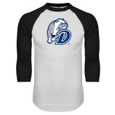 White/Black Raglan Baseball T Shirt-D Dog