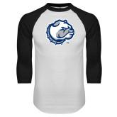 White/Black Raglan Baseball T Shirt-Bulldog Head