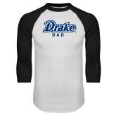 White/Black Raglan Baseball T Shirt-Drake Dad