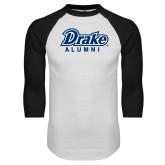 White/Black Raglan Baseball T Shirt-Drake Alumni