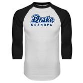 White/Black Raglan Baseball T Shirt-Drake Grandpa