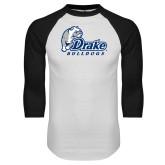 White/Black Raglan Baseball T Shirt-Drake Bulldogs Distressed