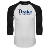 White/Black Raglan Baseball T Shirt-Drake University