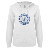 ENZA Ladies White V Notch Raw Edge Fleece Hoodie-Law School