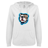 ENZA Ladies White V Notch Raw Edge Fleece Hoodie-Griff II