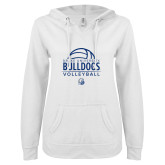 ENZA Ladies White V Notch Raw Edge Fleece Hoodie-Bulldogs Volleyball