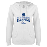ENZA Ladies White V Notch Raw Edge Fleece Hoodie-2018 Womens Basketball Tournament Champions