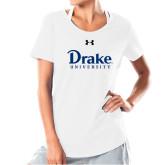 Ladies Under Armour White Charged Cotton Tee-Drake University