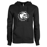 ENZA Ladies Black Fleece Full Zip Hoodie-Bulldog Head