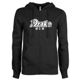 ENZA Ladies Black Fleece Full Zip Hoodie-Drake Mom