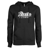 ENZA Ladies Black Fleece Full Zip Hoodie-Drake Alumni