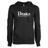 ENZA Ladies Black Fleece Full Zip Hoodie-Drake University