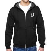 Black Fleece Full Zip Hoodie-Drake D Logo