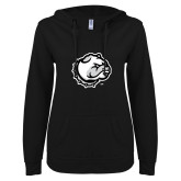 ENZA Ladies Black V Notch Raw Edge Fleece Hoodie-Bulldog Head