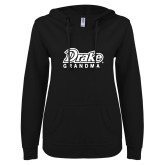 ENZA Ladies Black V Notch Raw Edge Fleece Hoodie-Drake Grandma