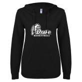 ENZA Ladies Black V Notch Raw Edge Fleece Hoodie-Drake Basketball