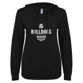 ENZA Ladies Black V Notch Raw Edge Fleece Hoodie-Bulldogs Basketball Net