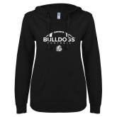 ENZA Ladies Black V Notch Raw Edge Fleece Hoodie-Bulldogs Football