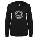 ENZA Ladies Black V Notch Raw Edge Fleece Hoodie-Law School