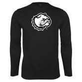Performance Black Longsleeve Shirt-Bulldog Head