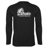 Performance Black Longsleeve Shirt-Drake Football