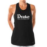 Ladies Under Armour Black Pinhole Tank-Drake University