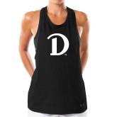 Ladies Under Armour Black Pinhole Tank-Drake D Logo