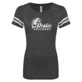 ENZA Ladies Black/White Vintage Football Tee-Primary Mark