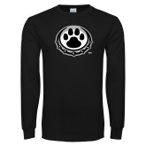 Black Long Sleeve T Shirt-Paw Print Logo