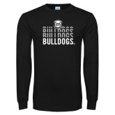 Black Long Sleeve T Shirt-Bulldogs Repeating
