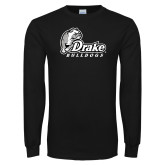 Black Long Sleeve T Shirt-Drake Bulldogs Distressed