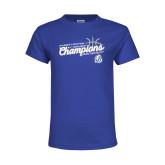 Youth Royal T Shirt-2018 Womens Basketball Tournament Champions