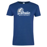 Ladies Royal T Shirt-Drake Bulldogs Distressed