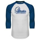 White/Royal Raglan Baseball T Shirt-Primary Mark
