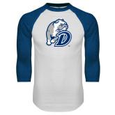 White/Royal Raglan Baseball T Shirt-D Dog