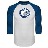 White/Royal Raglan Baseball T Shirt-Bulldog Head