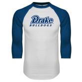 White/Royal Raglan Baseball T Shirt-Athletic Wordmark