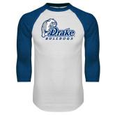 White/Royal Raglan Baseball T Shirt-Drake Bulldogs Distressed