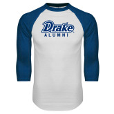 White/Royal Raglan Baseball T Shirt-Drake Alumni