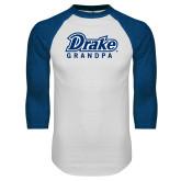 White/Royal Raglan Baseball T Shirt-Drake Grandpa