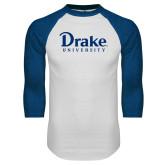 White/Royal Raglan Baseball T Shirt-Drake University
