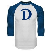 White/Royal Raglan Baseball T Shirt-Drake D Logo